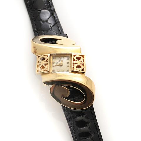 A 14k gold strap wristwatch, LeCoultre