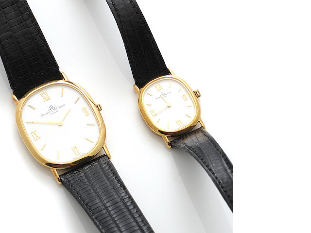 A set of 18k gold strap wristwatches, Baume & Mercier,