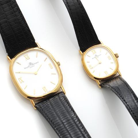 A set of 18k gold strap wristwatches, Baume & Mercier,