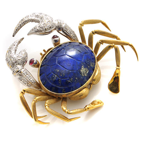 A lapis lazuli, diamond and 18k bicolor gold crab brooch