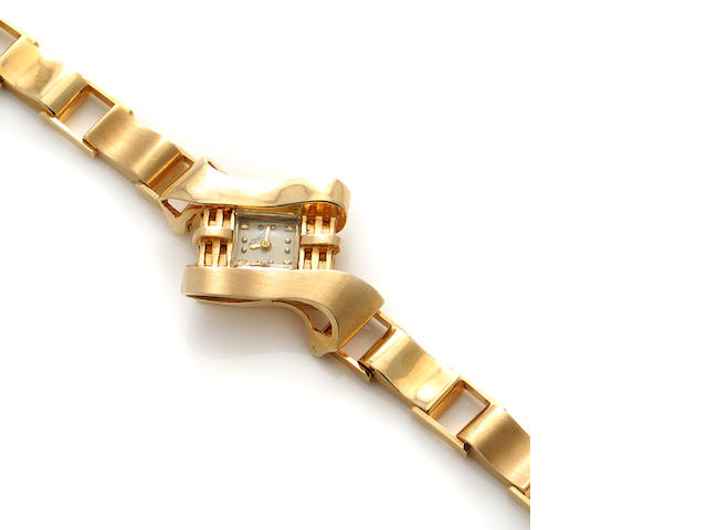 A 14k gold bracelet wristwatch, Le Coultre