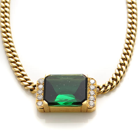 A tourmaline, diamond and 14k gold necklace