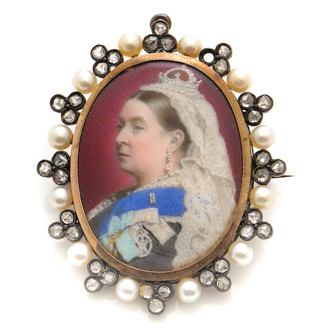 A rose-cut diamond, cultured pearl, silver and gold-filled Victorian Queen miniature portrait brooch