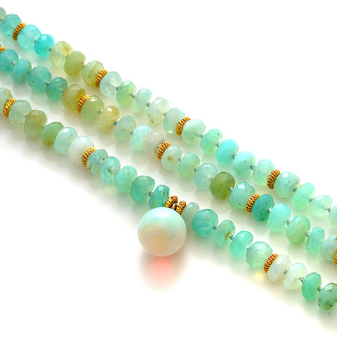 An opal, gemstone bead and gold necklace