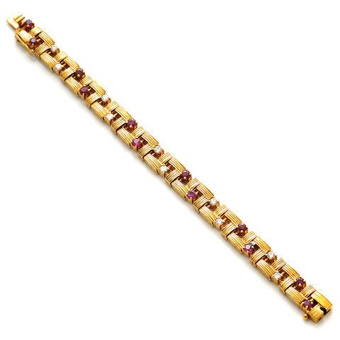 A ruby, diamond and 18k gold bracelet