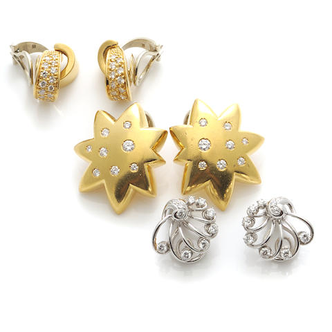 Three pairs of diamond and 18k bicolor gold earclips