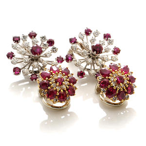 Two pairs of diamond, ruby, 14k and 18k gold earclips