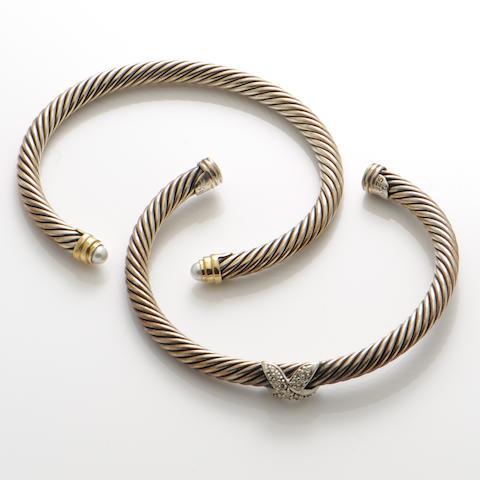 A set of two diamond, gold and silver bangle bracelets, David Yurman