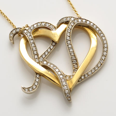 A diamond and 18k bicolor gold keart motif pendant with chain, Neil Lane