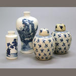 An assembled grouping of blue and white soft paste porcelain vessels