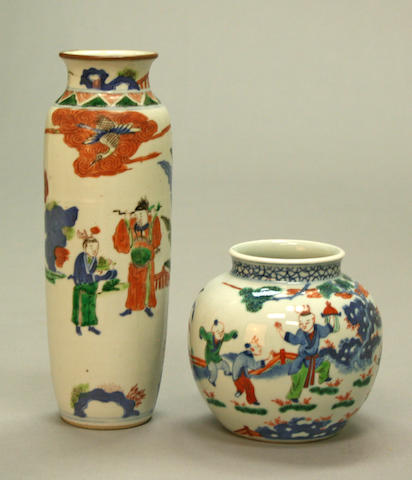 Two wucai glazed porcelain vessels