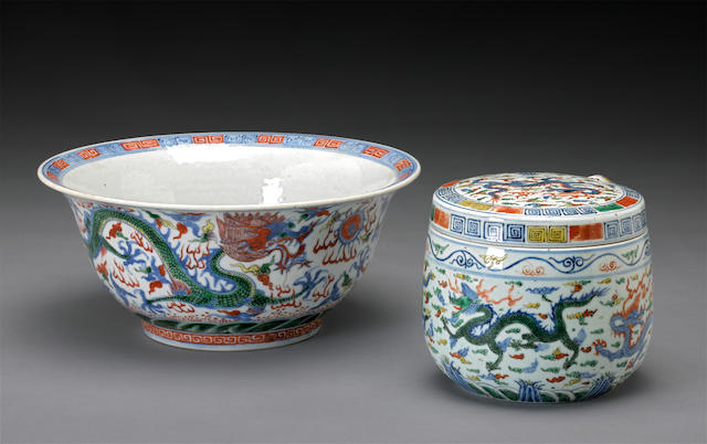 Two wucai glazed porcelains