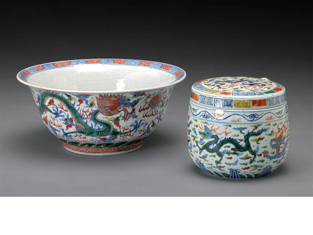 Two wucai glazed ceramics