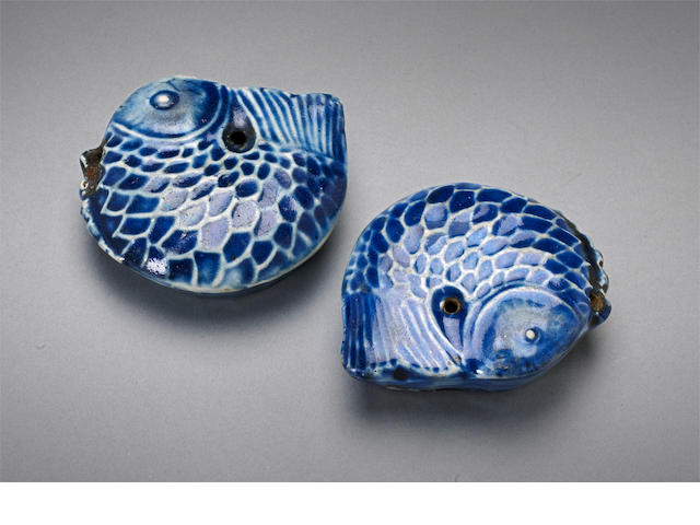 Two Korean blue glazed porcelain water droppers