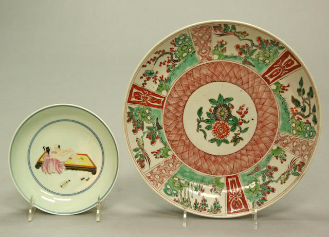 An assembled group of polychrome enameled porcelain dishes