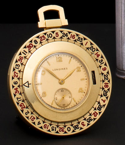 Longines. A 14K gold roulette wheel fob watchMovement no. 7092277, 1940's