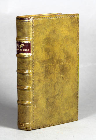 JACOB, GILES. 1686-1744. Lex Mercatoria: or, The Merchant's Companion. Containing All The Laws and Statutes Relating to Merchandize. London [In the Savoy]: E and R. Nutt, and R. Gosling, 1729.