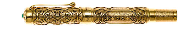 AURORA: Benvenuto Cellini Hong Kong 1997 18K Gold Limited Edition 199 Fountain Pen