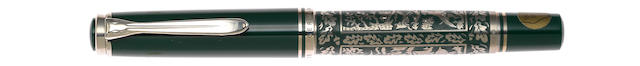 PELIKAN: Hunting Sterling Silver and Green Resin Limited Edition Fountain Pen