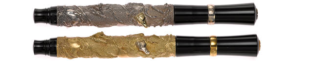 STIPULA: Laurus Set of Two Limited Edition Fountain Pens (Gold & Silver)