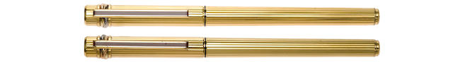 CARTIER: Must de Cartier Gold-Plated Fountain Pen & Ballpoint Set