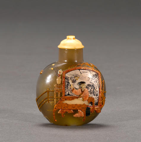 A Japanese-embellished agate snuff bottle 1880-1940, Tsuda Family style