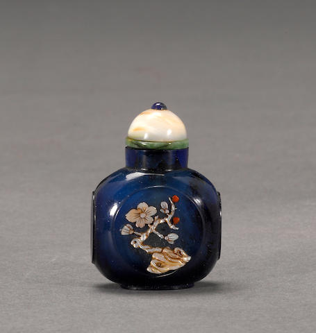 A miniature blue glass snuff bottle  1860-1920, with Japanese embellishment