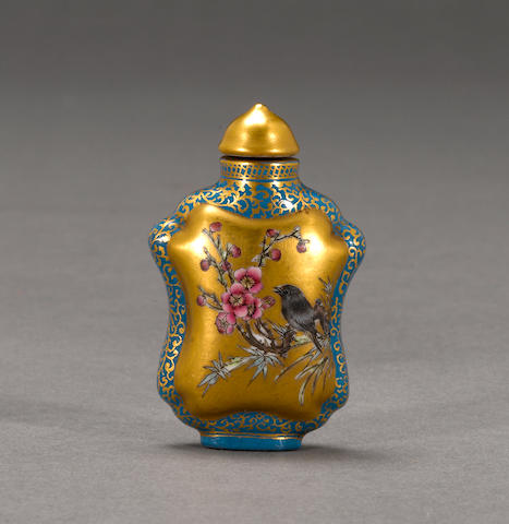 An enameled porcelain snuff bottle  Qianlong mark