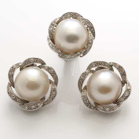 A group of mabe pearl, diamond and white gold jewelry