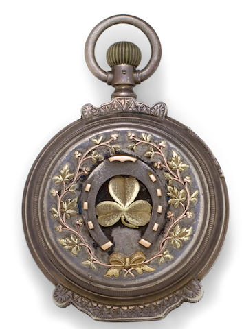 A remarkable sterling silver and multicolored gold high relief box hinge hunter cased American watchmovement signed Deuber Watch Co., No. 853008, circa 1892
