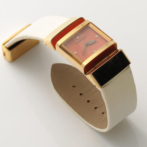 A coral, diamond and 18k gold wristwatch, Vhernier