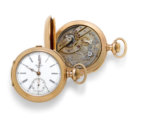 Montandon, Le Locle. A 14K gold cut hunter cased repeating chronographNo. 5552, circa 1900