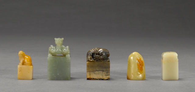 A group of five carved stone and jade seals
