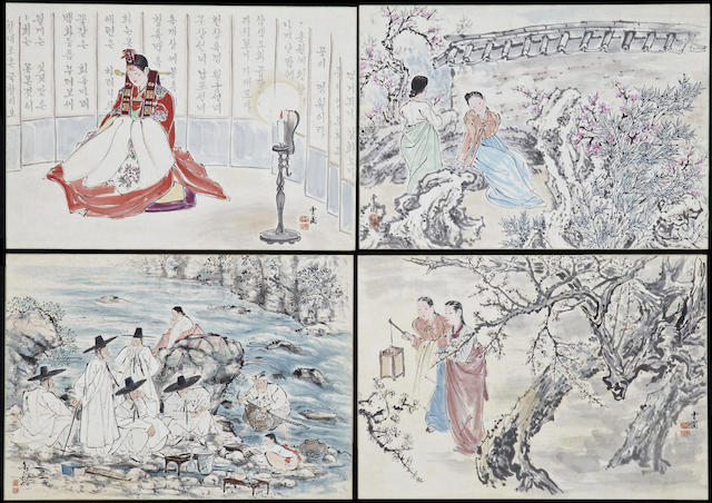 Kim Ki-Chang (1913-2001) A group of eight figural album leaves
