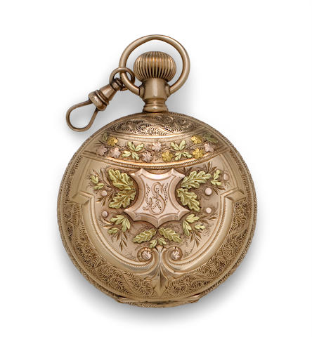 Elgin. A very fine multi-color 14K gold gem set hunter cased fob watchNo. 4424738, the case signed, J. Brull, 85  Ave. A. NY.,  circa 1890