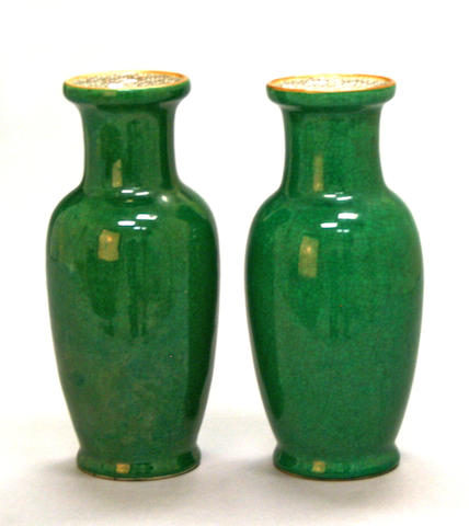 A pair of green ground crackle glazed porcelain vases 18th/19th century