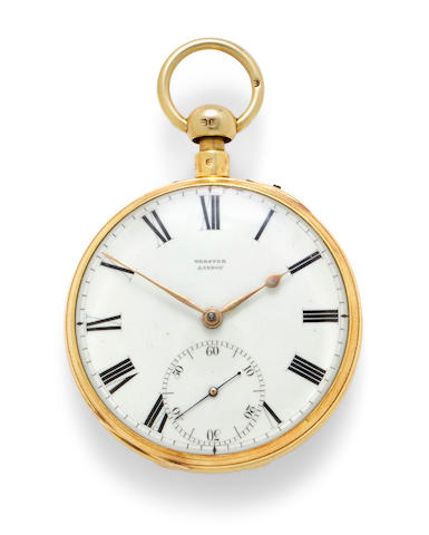 Richard Webster, Cornhill, London. A fine 18K gold open face quarter repeating duplex watchNo. 7270, case by Louis Comtesse, London, 1829