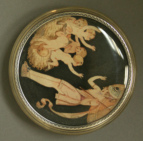 A French 950 standard silver circular table box with engine turned decoration and with a painting under glass by Andre Delpy, Paris, early 20th century