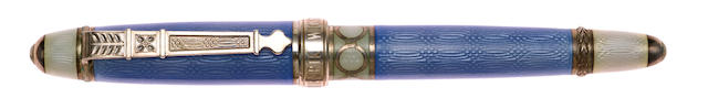 DAVID OSCARSON: Henrik Wigstrom Trophy Collection Blue & Silver Limited Edition 128 Fountain Pen