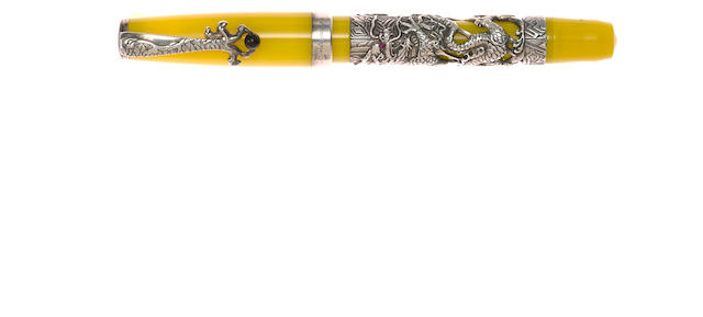 MONTEGRAPPA: 2000 Yellow Millennium Dragon Sterling Silver Limited Edition 366 Fountain Pen