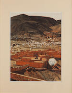 A group of nine Jacques Majorelle color lithographic prints from Les Kasbah d'Atlas circa 1929