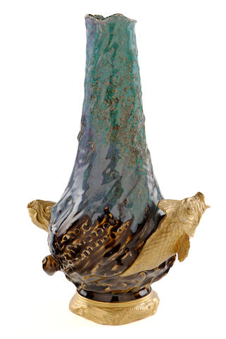 An Art Nouveau glazed earthenware and gilt-bronze fish and snail vase circa 1900