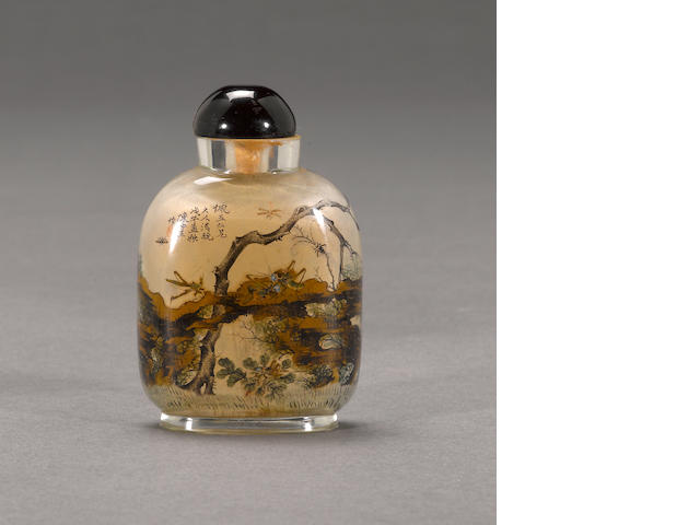 An inside painted rock crystal snuff bottle  Chen Zhongsan, dated by inscription to 1918