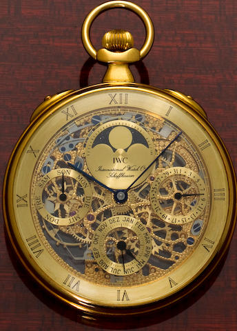 IWC. A fine 18K gold sketonized watch with calendar and moon phasesRef:5504, No. 2380533, sold 1998