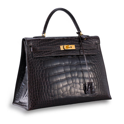 A brown alligator 'Kelly' 35 handbag, Hermès,