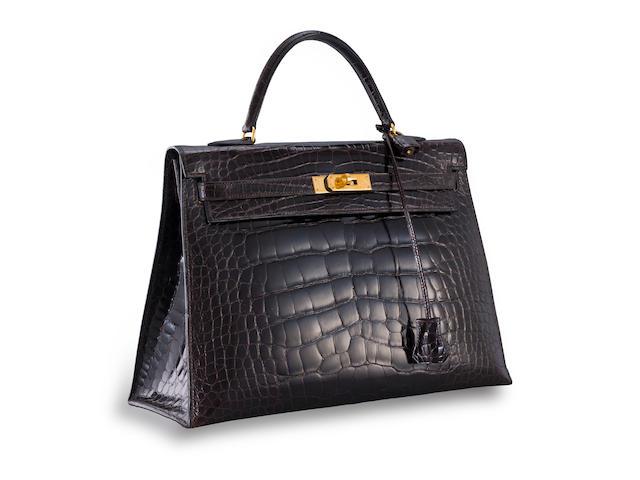 A brown alligator 'Kelly' 35 handbag, Hermès,