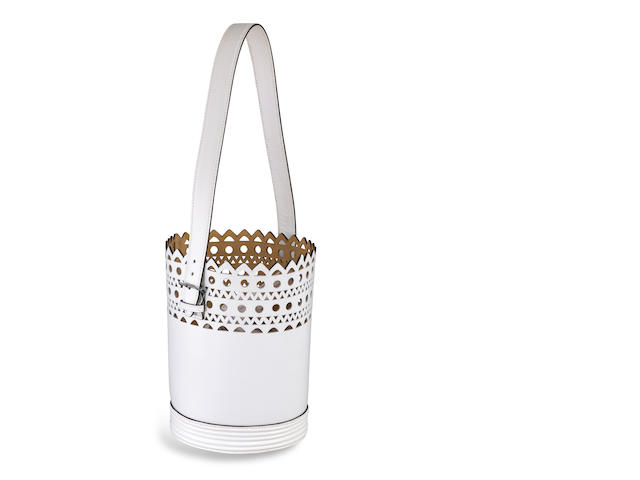 A white leather bucket bag, Azzedine Alaïa