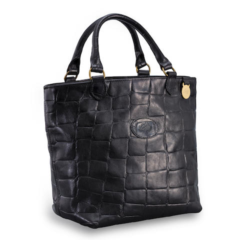 A black leather handbag, Mulberry