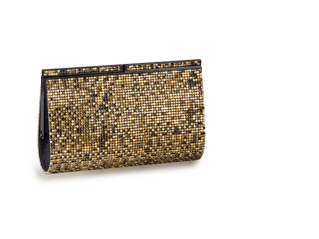A black and gold-tone rhinestone clutch, Swarovski