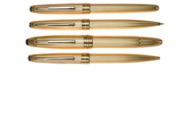 MONTBLANC: Lot of Four Gold-Plated Barleycorn Meisterstuck Instruments